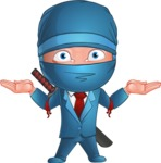 Businessman dressed as Ninja Cartoon Vector Character AKA Hideki - Confused