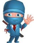 Businessman dressed as Ninja Cartoon Vector Character AKA Hideki - GoodBye