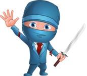 Businessman dressed as Ninja Cartoon Vector Character AKA Hideki - Hello