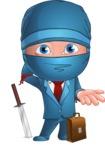 Businessman dressed as Ninja Cartoon Vector Character AKA Hideki - Oops