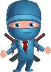 Businessman dressed as Ninja Cartoon Vector Character AKA Hideki - Patient