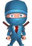 Businessman dressed as Ninja Cartoon Vector Character AKA Hideki - Blank