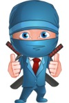 Businessman dressed as Ninja Cartoon Vector Character AKA Hideki - Thumbs-Up