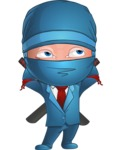 Businessman dressed as Ninja Cartoon Vector Character AKA Hideki - Bored 2