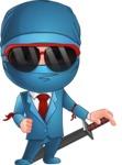 Businessman dressed as Ninja Cartoon Vector Character AKA Hideki - Sunglasses 1