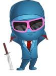 Businessman dressed as Ninja Cartoon Vector Character AKA Hideki - Sunglasses 2