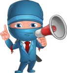 Businessman dressed as Ninja Cartoon Vector Character AKA Hideki - Loudspeaker