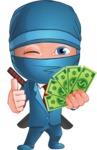 Businessman dressed as Ninja Cartoon Vector Character AKA Hideki - Show me the Money