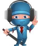 Businessman dressed as Ninja Cartoon Vector Character AKA Hideki - Support 1