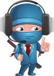 Businessman dressed as Ninja Cartoon Vector Character AKA Hideki - Support 2