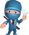 Businessman dressed as Ninja Cartoon Vector Character AKA Hideki - Mail