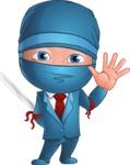 Businessman dressed as Ninja Cartoon Vector Character AKA Hideki - Wave