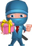 Businessman dressed as Ninja Cartoon Vector Character AKA Hideki - Gift