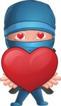 Businessman dressed as Ninja Cartoon Vector Character AKA Hideki - Love