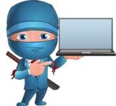 Businessman dressed as Ninja Cartoon Vector Character AKA Hideki - Laptop 2