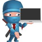 Businessman dressed as Ninja Cartoon Vector Character AKA Hideki - Laptop 3