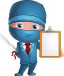 Businessman dressed as Ninja Cartoon Vector Character AKA Hideki - Note 1