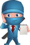 Businessman dressed as Ninja Cartoon Vector Character AKA Hideki - Note 2