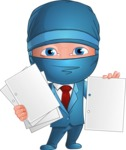 Businessman dressed as Ninja Cartoon Vector Character AKA Hideki - Note 3