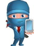 Businessman dressed as Ninja Cartoon Vector Character AKA Hideki - Smartphone 1