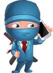 Businessman dressed as Ninja Cartoon Vector Character AKA Hideki - Smartphone 2