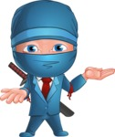 Businessman dressed as Ninja Cartoon Vector Character AKA Hideki - Showcase 1