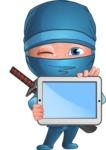Businessman dressed as Ninja Cartoon Vector Character AKA Hideki - Tablet 1