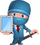 Businessman dressed as Ninja Cartoon Vector Character AKA Hideki - Tablet 2