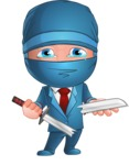 Businessman dressed as Ninja Cartoon Vector Character AKA Hideki - Under Construction 1