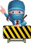 Businessman dressed as Ninja Cartoon Vector Character AKA Hideki - Under Construction 2