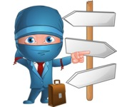 Businessman dressed as Ninja Cartoon Vector Character AKA Hideki - Crossroads