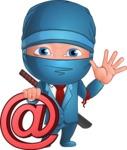 Businessman dressed as Ninja Cartoon Vector Character AKA Hideki - Web