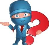 Businessman dressed as Ninja Cartoon Vector Character AKA Hideki - Question