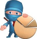Businessman dressed as Ninja Cartoon Vector Character AKA Hideki - Chart
