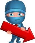 Businessman dressed as Ninja Cartoon Vector Character AKA Hideki - Pointer 1