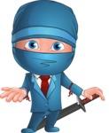 Businessman dressed as Ninja Cartoon Vector Character AKA Hideki - Showcase 2