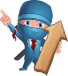Businessman dressed as Ninja Cartoon Vector Character AKA Hideki - Pointer 2