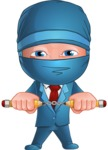 Businessman dressed as Ninja Cartoon Vector Character AKA Hideki - Determination