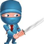 Businessman dressed as Ninja Cartoon Vector Character AKA Hideki - Protect