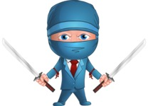 Businessman dressed as Ninja Cartoon Vector Character AKA Hideki - Ready to Fight