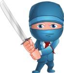 Businessman dressed as Ninja Cartoon Vector Character AKA Hideki - Focused
