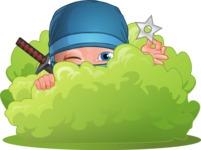 Businessman dressed as Ninja Cartoon Vector Character AKA Hideki - Stealth