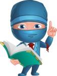 Businessman dressed as Ninja Cartoon Vector Character AKA Hideki - Book