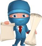 Businessman dressed as Ninja Cartoon Vector Character AKA Hideki - Plans