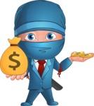 Businessman dressed as Ninja Cartoon Vector Character AKA Hideki - Profit