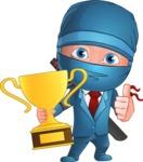 Businessman dressed as Ninja Cartoon Vector Character AKA Hideki - Champion