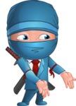 Businessman dressed as Ninja Cartoon Vector Character AKA Hideki - Show 1