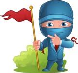 Businessman dressed as Ninja Cartoon Vector Character AKA Hideki - Checkpoint