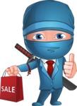 Businessman dressed as Ninja Cartoon Vector Character AKA Hideki - Sale 1