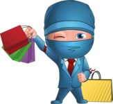 Businessman dressed as Ninja Cartoon Vector Character AKA Hideki - Sale 2